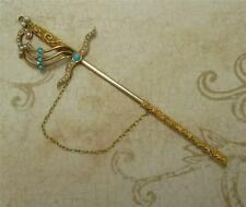 Antique Gold Turquoise Pearl Scarf Stick Pin 14k Sword