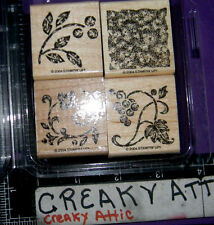 STAMPIN UP STIPPLED STENCILS 4 RUBBER STAMPS BERRIES GRAPES VINES FLOWERS