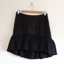 BALENCIAGA textured silk skirt ruffle black short mini frill asymmetrical hem 36
