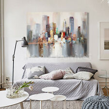 GUDI- Modern hand-painted oil painting abstract city home decoration(Unframed)