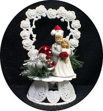 SALE!! Christmas red Santa Wedding Cake topper ornament centerpiece Silver xmas
