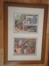 Home Interior By Joan Cole 2 pictures in one frame Bench w flowers water can b