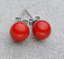 new 8/10/12/14MM Round South Sea Shell Pearls Silver Earrings
