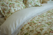 SUPER KING VINTAGE FLORAL QUILTED BEDSPREAD 100% COTTON PINK / GREEN ON CREAM