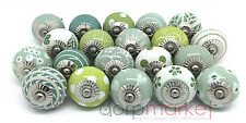 Set of 20 Mixed Green Ceramic Cupboard Door Knobs by Dorpmarket
