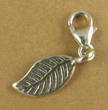 Curvy leaf clip-on charm.  Solid fine and sterling silver 925.