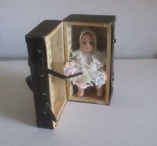 """Tiny Porcelain 2"""" Baby Doll With 2 1/4"""" Brown Trunk Scale 1:12  Doll House Size"""