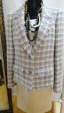CHANEL PURPLE AND MULTI COLOR TWEED JACKET SIZE 46 CRUISE 2005 COLLECTION