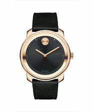 Movado Bold 3600376 Swiss Watch Gold Black Museum Leather Strap