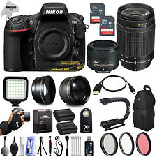 Nikon D810 36.3mp DSLR Camera w/ 24PC 50mm + 70-300mm + 64GB 4 Lens Photo Kit
