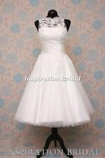 1555 short 50s 60s wedding dresses tea length knee lace justin 8706 Sabrina neck