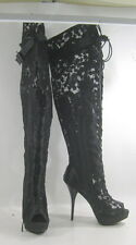 "summer Blacks 5.5""high heel open toe lace up over the knee sexy boots Size 8.5 p"