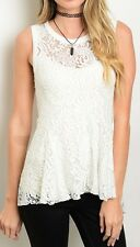Mesh Lace Peplum Mermaid Fishtail Back Blouse Sleeveless Top S M L