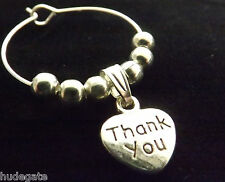 10 THANK YOU Wine Glass Charms Table Decoration Wedding Birthday Hen Party