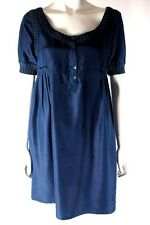 Collette by Collette Dinnigan Blue Short Sleeve Silk Pleated Dress Size M