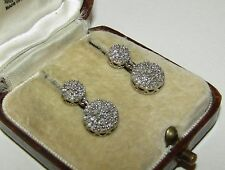 FINEST, ART DECO, STERLING SILVER NATURAL DIAMOND TREMBLEUSES EARRINGS, 1.08CT