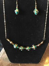 VINTAGE Glass Wedding Cake Bead Necklace/Earring Set Green Floral Victorian 18C