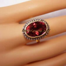 Victorian Estate 1.08cts ROSE Cut Diamond Jewelry Ruby .925 Argento Sterling Anello