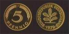 GERMANIA GERMANY 5 PFENNIG 1979 J PROOF FDC/UNC FONDO SPECCHIO FIOR DI CONIO