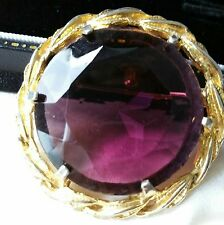 VINTAGE JEWELLERY - large Amethyst glass stone brooch, shawl pin