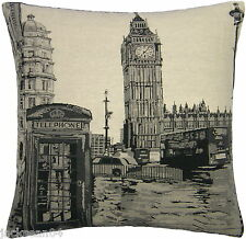 LONDON BIG BEN BLACK CREAM GREY TAPESTRY COTTON VELVET THICK CUSHION COVER 18""