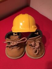 Build a Bear Shoes Tan Work Boots And Hard Hat Construction Helmet