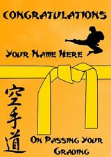 Karate Judo Taekwondo Grading Yellow Belt Congratulations Personalised Card PS56