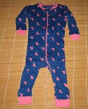 Baby Gap Long Sleeve Pajama One Piece Blue Pink Ice Skaking Shoes 6-12 Months