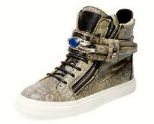 $1345 NIB GIUSEPPI ZANOTTI DOUBLE ZIP EMBELLISHED SNAKE HI TOP SNEAKERS 38 7.5 8