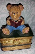 Resin Teddy Bear Hinged Trinket Box - reading sitting on stack of books
