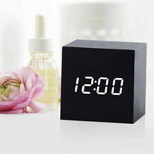 LED Digital Desk CLOCK + Thermometer Black Wooden Cube USB/AAA PARTY GIFT NEW