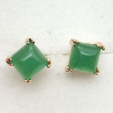 Cute Green Jade Emerald Square Ear Stud Earrings 24K Gold Plated Women Jewelry