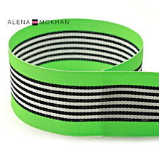 "5 yards 1 1/2"" Lime Black White Stripes Zebra Woven Grosgrain Ribbon"