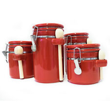Red 4 Piece Round Ceramic Canister Set With Flip Lock Seal Lids & Wood Spoons