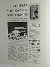 1929 Eveready Prestone Antifreeze ad, Winter driving