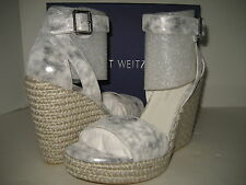 $398 NEW Stuart Weitzman Womens US 11 Mostly Lead Clouded Wedge Sandals Shoes BX