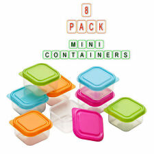 8X Mini Plastic Containers Set Food Kitchen Storage Box 4 Multi Colour Lids New