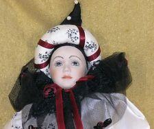 """Unique Porcelain & Cloth Parisian Clown Doll 20"""" Tall"""