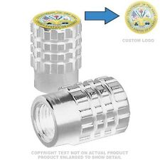 2 Silver Billet Knurled Tire Air Valve Cap Motorcycle Bike - US ARMY SEAL M
