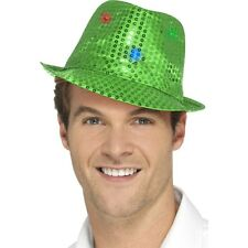 Women's Men's Green Light Up Sequin Trilby Fancy Dress Hat Hen Stag LGBT Fun