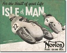 Norton Motorcycles Isle of Man TIN SIGN metal garage decor racing ad poster 1704