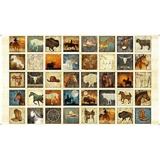 Unbridled cotton quilt fabric BTY Quilting Treasures Sm Horse  Blocks