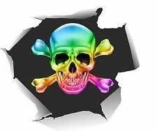 Auto Aufkleber Pirat hinter Einschussloch Skull Totenkopf Motorrad Sticker