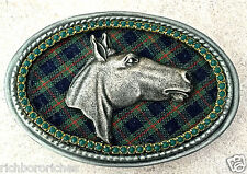 Equestrian Pewter Horse Head green plaid oval Handmade belt buckle NEW 4 x 2.75""