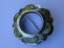 Victorian Scottish Iona Marble Sterling Silver Brooch