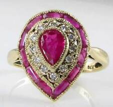 CLASS HUGE 9k GOLD DECO INS INDIAN RUBY & DIAMOND PEAR TEAR DROP RING