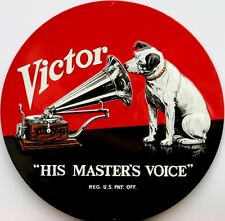 RCA Victor Nipper His Masters Voice Record Player Music Ad Retro Tin Metal Sign