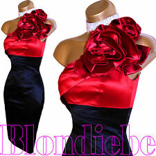 KAREN MILLEN Exquisite BLACK & RED Satin CORSAGE Rose DRESS UK 8