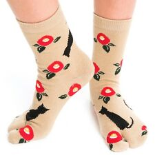 1 Pair - V-Toe Flip Flop Tabi Socks - Black Kitten Pattern
