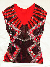 BEBE RED TROPICAL SEQUIN STUDDED TOP SHIRT NEW NWT SMALL S